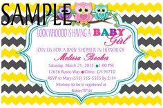 Grey & Yellow Chevron & Baby Owls invitation -please click on photo twice to place orders or follow me on Facebook or e-mail me at the address in my about me section
