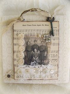 Handmade Lace Collage Altered Lace Wall Hanging Vintage by QueenBe