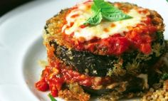 Eggplant Parmesan w/ Bulgur & Pine Nuts - not sure of my eggplant obsession right now, but this sounds really good! 340 Cal, 19 g Protein for 1 eggplant stack & 1/2 c Bulgur