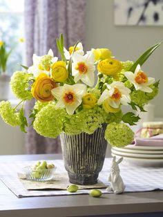 Daffodils, ranunculus, viburnum?
