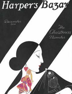 1924: An exotic profile is enhanced by bold diagonal lines.    #vintage #harpersbazaar #vintagecover  #fashion #magazine #illustration