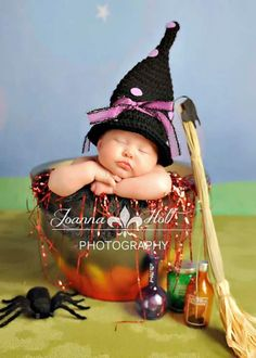 Newborn Witch polka dot hat/Made to order/Photography Prop