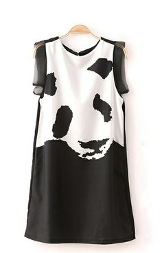 Panda Print Color Block Dress