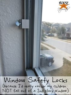 Stay safe by installing window safety locks.  Keep burglars out, keep kids from falling out the window.  houseofhepworths.com #safety #window #locks