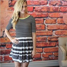 """Neon lime trim black and white strip dress Bought from another fabulous posher, check her amazing closet out @scanon. I wore this dress one time and it doesn't fit anymore. Super cute and in great condition. 96% rayon 4% spandex. 34"""" length. i love j Dresses"""