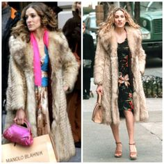 Sarah Jessica Parker as Carrie Bradshaw in a fur coat