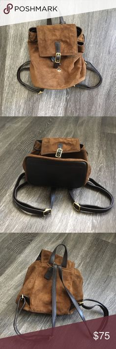 """Coach Leather and Suede Mini Backpack Authentic vintage suede Coach backpack with leather accents! I've loved this this for years, and it's finally time to part with it... no rips, tears, or stains. Essentially perfect condition. Open to offers.  Dimensions: 10"""" T x 8"""" W x 5"""" D (approximate) Coach Bags Backpacks"""