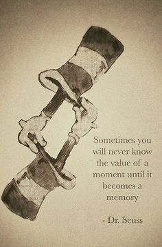"""Sometimes you will never know the value of a moment until it becomes a memory."" ~ Dr. Seuss"