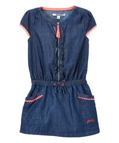 DKNY Dark Wash Zip-Front Drop-Waist Denim Dress - Infant, Toddler & Girls | zulily