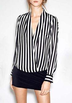 Camicia a righe verticali bianca e nera 11.04