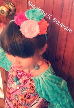 Girls Aqua, Pink, and Orange Shabby Flower Headband