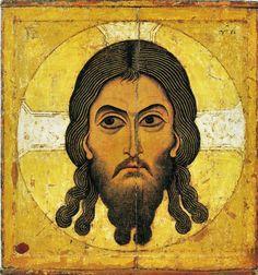 Au début du Moyen-Age (art roman et icônes byzantins), les figures géométriques sont très basiques. Le cercle de l'auréole est inscrit dans un « presque » carré: n'est-ce pas la condition de l'esprit contenu dans le corps que cette icône met en scène ?