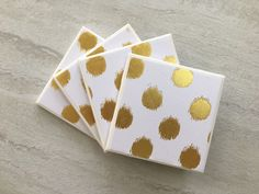 Gold Coasters, Gold Foil Coasters, Tile Coasters, Ceramic Coasters, Wedding Gift, Handmade Coasters, Gold, Coaster Set by JulesfortheHome on Etsy