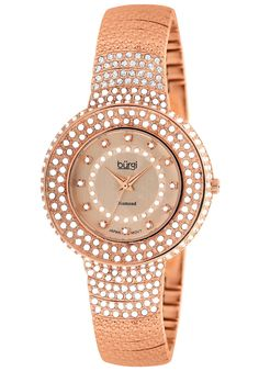 Price:$104.57 #watches Burgi BUR048RG, This bold timepiece from Burgi showcases has a silver-tone dial with 12 diamonds and an inner row of crystals. This women's watch offers a silver-tone base metal case with 3 rows of crystals on the bezel and on the bracelet.