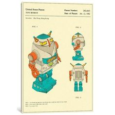 "East Urban Home 'Hiu Wong (Blue Box Toy Factory Limited) Toy Robot (""Silver Warrior"") Patent' Graphic Art Print on Canvas Size: 60"" H x 40"" W x 1.5"" D"