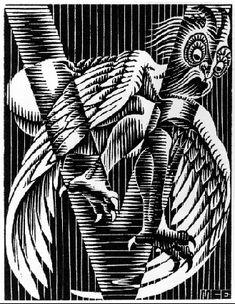 Initial V by M.C. Escher 1931