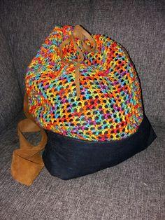 Chrochet backpack with denim.