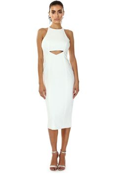 """MAY LIGHT IVORY MIDI DRESS  was $325 now $98  RACER NECKLINE MIDI DRESS WITH FRONT WAIST CUT OUT. FULLY LINED WITH BACK HIDDEN ZIPPER WITH BOTTOM SLIT. SOPHISTICATED AND SEXY ALL WRAPPED IN ONE DRESS THAT CAN GO FROM DAY TO DINNER.   SHOULDER TO HEM MEASUREMENT 43"""" 98% POLYESTER 2% SPANDEX DRY CLEAN ONLY"""