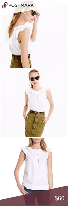 J. Crew Cotton Ruffle Top A feminine top crafted in polished cotton poplin. The slight scoopback is still bra-friendly, and it's a fun silhouette to wear at work or on the weekend. SOLD OUT AT J CREW. Length 25 1/2. Cotton. Machine wash. J. Crew Tops