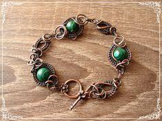Bransoletka Miedziana Malachity, Wire-wrapping - Copper_Jewelry - Bransoletki