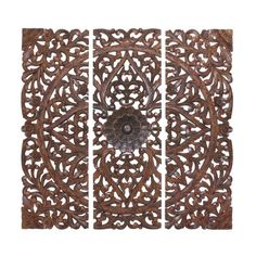 DecMode 24W x 71H in. (Each) 3 Piece Ornate Leaf and Scroll Design Wood Triptych Wall Panel