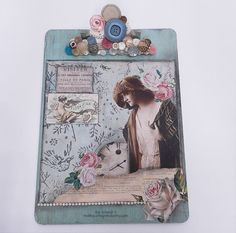 Altered Clipboard Pretty Flapper Handmade by shabbycottagestudio