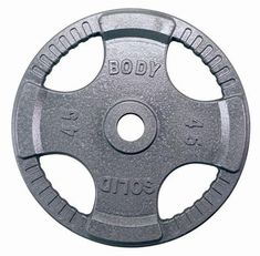 Body Solid 45 lb Steel Grip Olympic Plate. Fully-integrated Quad-grip design guarantees safer and easier performance than any other plate on the market. Accurate within 2 percent or better of stated weight Body-Solid Steel Grip Olympic plates are cast from the highest quality gray iron creating an exceptionally strong and durable product. Feature baked on hammer-tone gray finish that is durable chip and rust resistant. Heavy lifting has never been easier or safer. Features -High quality...