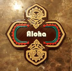 Disney Polynesian Resort Inspired Tiki Aloha Plague - $39.99.  Perfect for any Disney fan to add to their collection. Bring a little bit of the Happiest Place on Earth to your home. Disney World Gifts, Aloha Sign, Polynesian Resort, Bubble Wrap, Preserve, Making Out, Dark Brown, Hand Painted, Signs