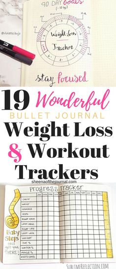 19 Bullet Journal ideas for workout trackers and faster weight loss! Find your workout plan, keep up your motivation and lose more weight  - check out these fantastic bullet journal trackers now! #weightloss #bulletjournaljunkies #planneraddict #workoutplan