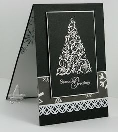 Stamped black and white Christmas Card