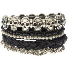 ASOS Friendship Bracelet Pack With Chains And Skulls and other apparel, accessories and trends. Browse and shop related looks. Skull Bracelet, Skull Jewelry, Bead Jewellery, Gothic Jewelry, Metal Jewelry, Body Jewelry, Beaded Jewelry, Jewelery, Jewelry Bracelets