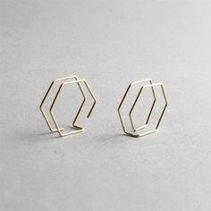 Pair of modern architectural hexagon earrings to be added to freshen up your style effortlessly. They are light in weight, elegant yet so simple in design. #JewelryEarrings