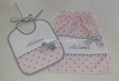 Bolsa Merienda y Babero Personalizados - Imagen 3 Girls Easter Dresses, Baby Kit, Ballet, Sewing, Children, Handmade, Ideas, Diy, Garment Bags