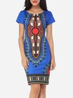 Tribal Printed Round Neck Bodycon-dress XL-Xxl available