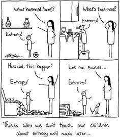 La razón de que los adultos retrasen la explicación sobre entropía, jejeje... Es broma.... ;)
