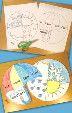 Fun weather craft and worksheets for first grade and kindergarten. Weather Crafts Preschool, Weather Activities For Kids, School Age Activities, Seasons Activities, Preschool Science, Science Education, Kids Education, Physical Science, Science Classroom