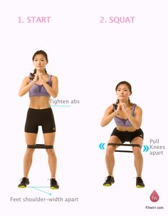 fuckyeahsirdigbychickencaesar - Fitness/exercise - Resistance band squats to strengthen the butt and knees - Leg Workout At Home, Easy At Home Workouts, Butt Workout, Gym Workouts, Stepper Workout, Band Workouts, Squats With Resistance Band, Resistance Workout, Resistance Band Exercises