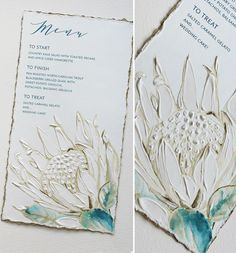 A stunning protea menu.Rich textural hand-painting combined with soft watercolor, edge painting is the perfect touch! Protea Wedding, Bush Wedding, Watercolor Wedding Invitations, Wedding Stationery, Wedding Menu Cards, Black Tie Wedding, Wedding Beauty, Wedding Details, Wedding Decorations