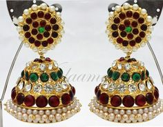 Ethnic Jhumkis Stone Jhumkas Traditional South India Earrings Ear studs
