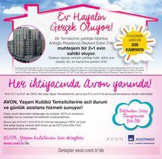 Bir Temsilcimiz çekilişle İstanbul Arifoğlu Residence Beykent Evleri 2'de 2+1 evin sahibi oluyor!  Ayrıca, acil durum ve günlük asistans hizmeti sunduğumuz Avon Yaşam Kulübü ile Temsilcilerimizin her an yanındayız! Detaylar için tıkla.