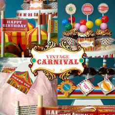 Always loved this theme! Vintage Carnival Circus Printable Birthday by 2PartyPrintables