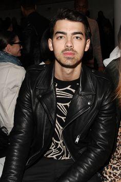Joe Jonas with his leather jacket