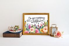Alice in Wonderland literary quote PRINTABLE do you suppose she's a wildflower watercolor floral nursery print girl bedroom baby shower gift by MatildaMoonStudio on Etsy https://www.etsy.com/listing/252685426/alice-in-wonderland-literary-quote