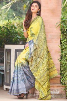 Buy Yellow & Grey Tussar Silk Printed Saree Online Kota Silk Saree, Tussar Silk Saree, Soft Silk Sarees, Cotton Saree, Designer Sarees Wedding, Grey Saree, Block Print Saree, Saree Poses, Saree Photoshoot