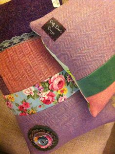 a selection of tweediliciousness - My Harris tweed cushions with a floral twist… Harris Tweed Fabric, Cute Bedding, Patchwork Cushion, Handmade Cushions, Sewing Pillows, Creation Couture, Recycled Fabric, Wool Applique, Perfect Pillow