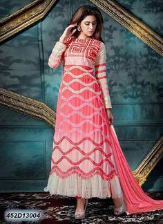 Alluring Peach and Cream Coloured Georgette Salwar Suit