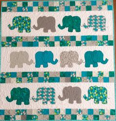 Teal and grey baby elephants quilt by koolquilting.com