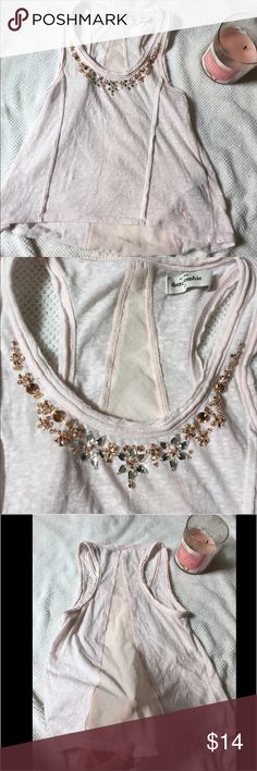 Sz.XS/S light pink top Pre loved sweet & pretty detailed w/rhinestones Sz.XS/S light pink top. Sheer back. Crop top. Tops Crop Tops