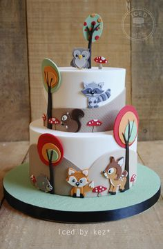 Woodland Animals - Sugar Myths & Fantasies Collaboration - Cake by IcedByKez