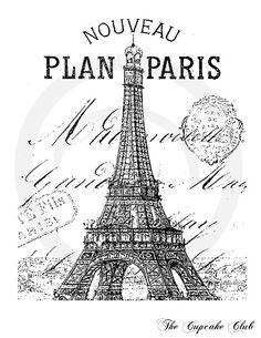 Clip Art Design Transfer Digital File Vintage by thecupcakeclub paris etiqueta blanco